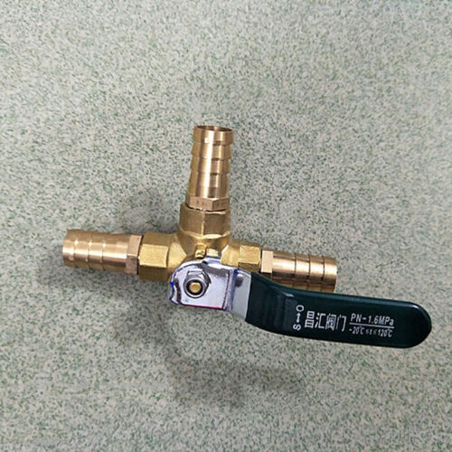 6-14mm T-piece Barb Ball Valve 3 Way Brass Tee Water Pipe Switch Plumbing Parts