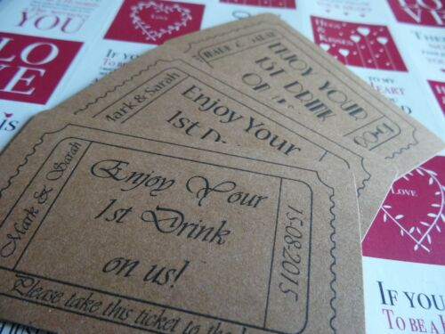 50 Enjoy Your 1st Drink On Us Personalised Ticket Token Wedding Kraft Card First