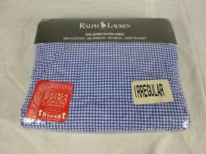 NEW Ralph Lauren Small Blue Gingham QUEEN Fitted Sheet 100% Cotton Irregular