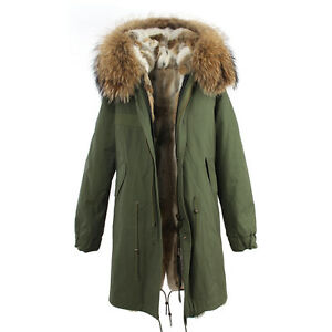 Women Colored REAL Rabbit FUR Lining Long Coat Army Jacket Parka  cfbf23249a