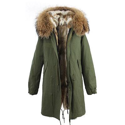 2017 Women Colored REAL  Rabbit FUR  Lining Long Coat Army Jacket Parka UK 4-16
