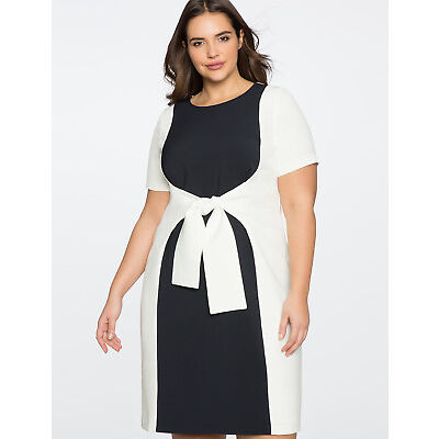 Eloquii Dress Sz 16 Colorblock Women's Stretch Navy White Slimming Tie Front NWT