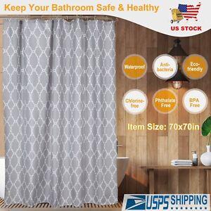 "70"" x 70"" Waterproof Fabric Bathroom Bath Shower Curtain Decor with 12 hooks Set"