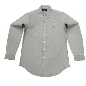 Ralph-Lauren-Para-Hombres-Camisa-a-Rayas-Calce-Clasico-en-negro-Blanco-Talla-S