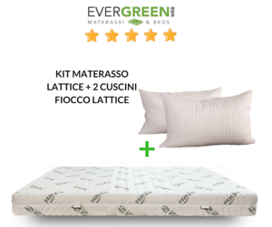 OFFERTA! MATERASSO MATRIMONIALE 100% LATTICE 160X190 + 2 CUSCINI ...