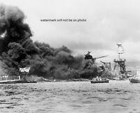 Burning U.s. Navy Battleships Pearl Harbor Attack 8x 10 World War Ii Photo 117