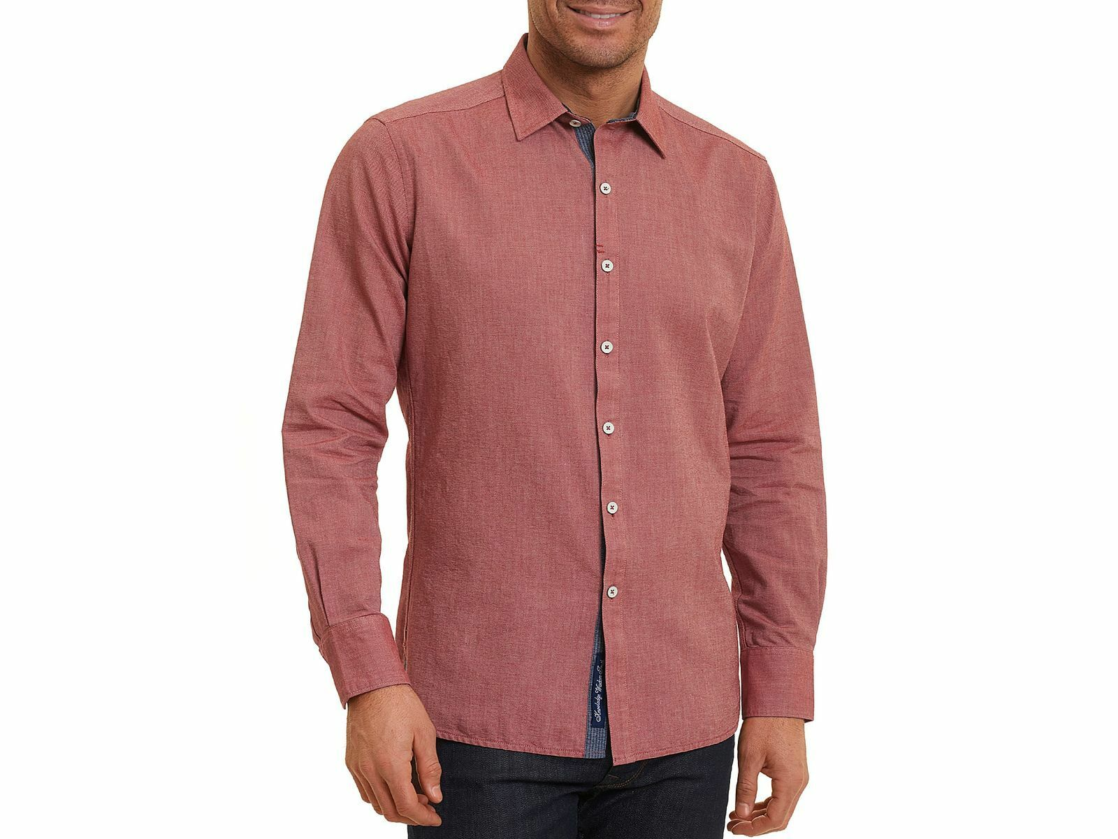 ROBERT GRAHAM Men's CLASSIC FIT RED LONG SLEEVE BUTTON TOP COTTON SHIRT XL
