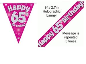65th-BIRTHDAY-PINK-FOIL-BANNERS-AND-BUNTING-OFFER-BOTH-ITEMS-FOR-2-99