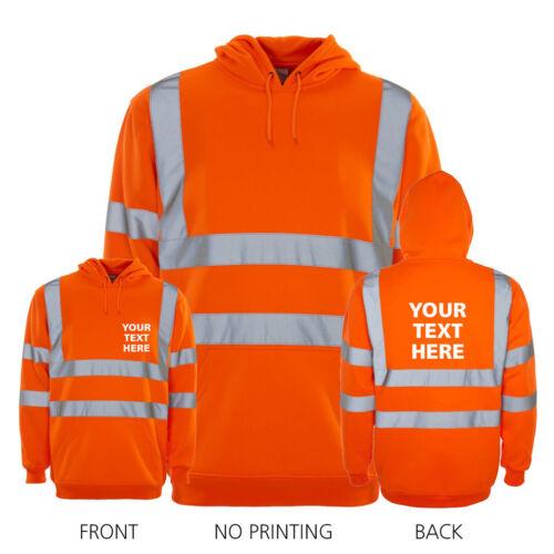 PERSONALISED HI VIZ SAFETY Custom Printed WORKWEAR Hooded Fleece • YELLOW ORANGE