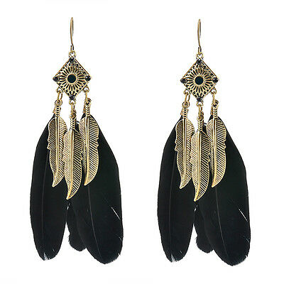 Wholesale Trendy Dream Catcher Leaf Feather Drop Dangle Paragraph Earrings Gift