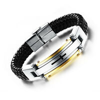 Mens Stainless Steel Bible Cross Braided Black Leather Cuff Bracelet Bangle