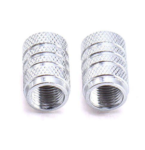 4x Silver ALUMINUM PISTON TIRE//RIM VALVE//WHEEL AIR PORT DUST COVER Stem Cap New