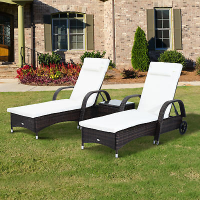 Outsunny Rattan Sun Lounger Table Set Garden Patio Wicker Chair Reclining Wheel