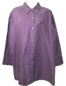 Laura Scott Women's Blouse Plus 20W Linen Blend Long Sleeve Button Down Shirt