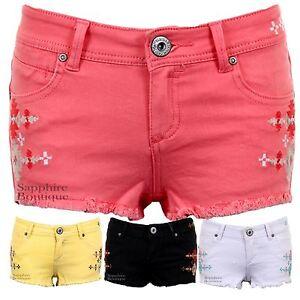 baae749af2347 Women s Pastel Coloured Aztec Denim Summer Fitted Hot Pants Shorts ...