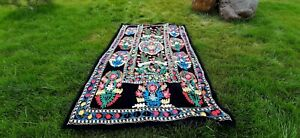 Multicolor-Vintage-Uzbek-Hand-Embroidery-Suzani-birds-SALE-WAS-250-00