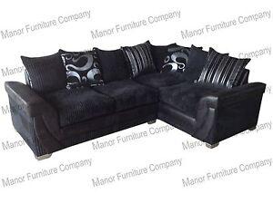 Lush Corner Sofa Black Jumbo Cord And Faux Leather