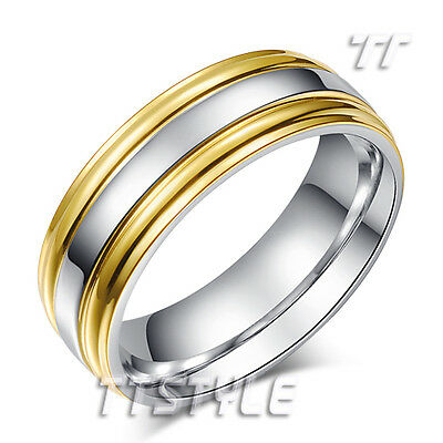 TTstyle Two-Tone Gold Stripe Stainless Steel Wedding Band Ring Mens & Womens