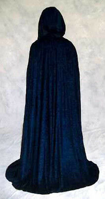 NAVY blue Velvet Cloak Cape Wedding Wicca Medieval LARP