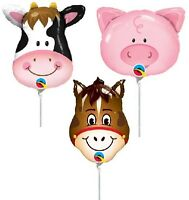 6 Farm Animals Balloons Air Mini Shape Decorations Cow Pig Horse Birthday Party