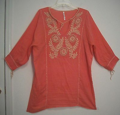 FLORABELLA 100% COTTON Gauze EMBROIDERED Hippie FESTIVAL Tunic Top Blouse M