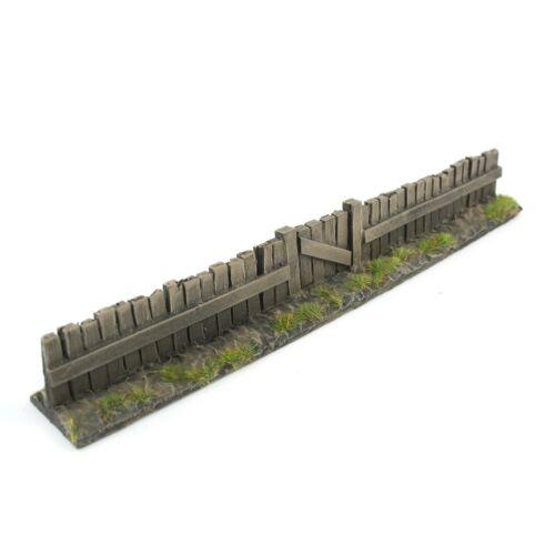 WWG Holzzaun mit Tor Unbemalt x 1-20-28 mm Modellbau Zaun Mauer Modell