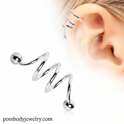 16G Surgical Steel TRIPLE Spiral Twister Barbell Helix Cartilage Earring w/ Ball