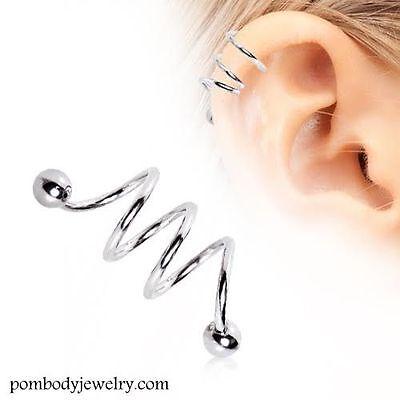 16g Chirurgenstahl Dreifach Spirale Twister Barbell Helix Knorpel Ohrring / Angemessener Preis
