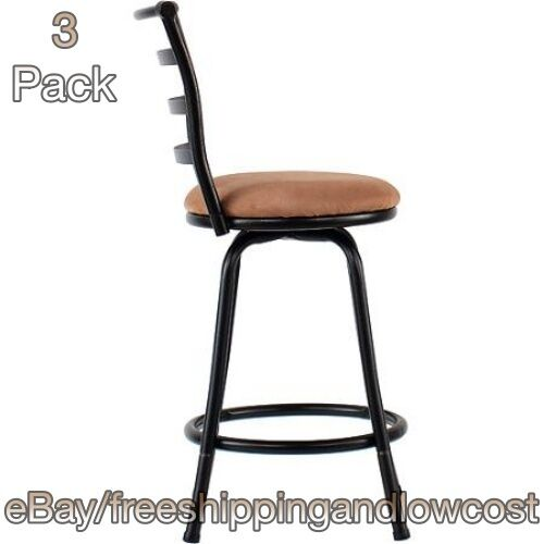 """Metal Dining 24"""" Height Chairs 3 Swivel Counter Stools Bar Stool Set Black"""