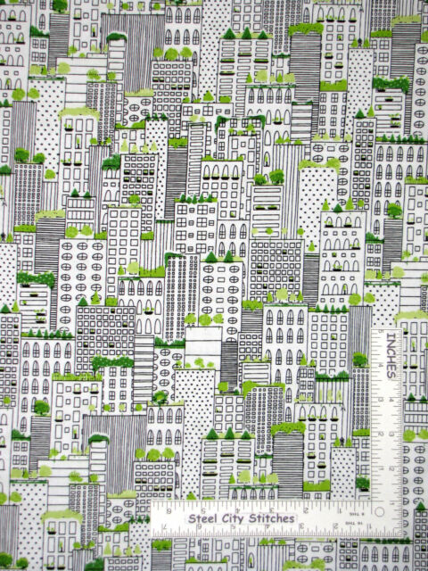 City Neighborhood Apartment Buildings Cotton Fabric QT City Life By The Yard