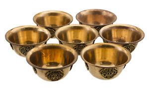 7 Ciotole A che Offre Tibetano Ø 100mm Rame Ritual Buddista Astamangala 25695 D9