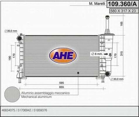 Radiatore acqua AHE 109.360//A
