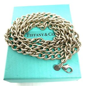 Tiffany-amp-Co-Sterling-Silver-Twisted-rope-Oval-Link-Necklace-36-Lot-O22