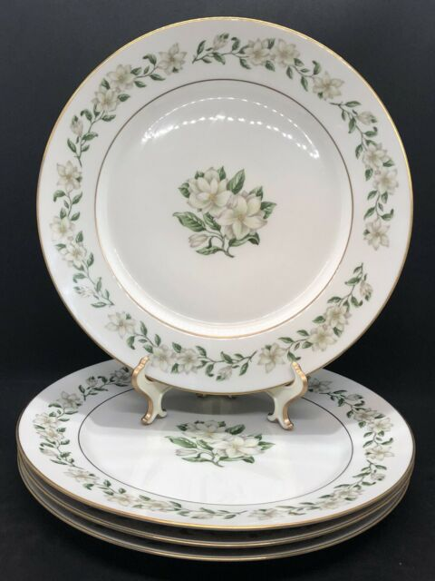 "Lot of 4 Princess China Tru-Tone Bridal Wreath Dinner Plates 10-1/4"" EUC"
