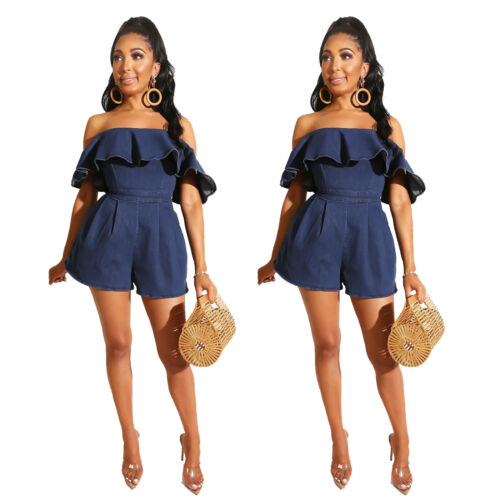 Fashion Women Off Shoulder Ruffled Solid Denim Zipper Short Jumpsuit Casual