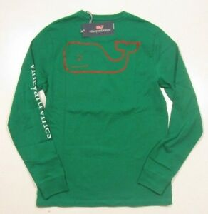 Vineyard Vines Boys Blue Blazer Elf Whale Graphic Christmas L//S Pocket T-Shirt