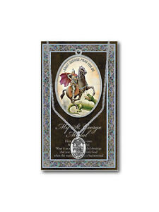 Pewter Medal and Stainless Steel Chain Chain /& Prayer Card St George Medal