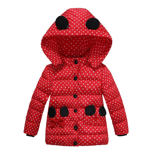 Kids Girls Jacket Thick Winter Warm Outerwear Children Hooded Coat Clothing New
