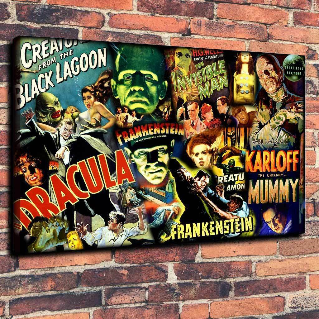 Classic Horror Dracula, Frankenstein Printed Canvas Picture Multiple Größes