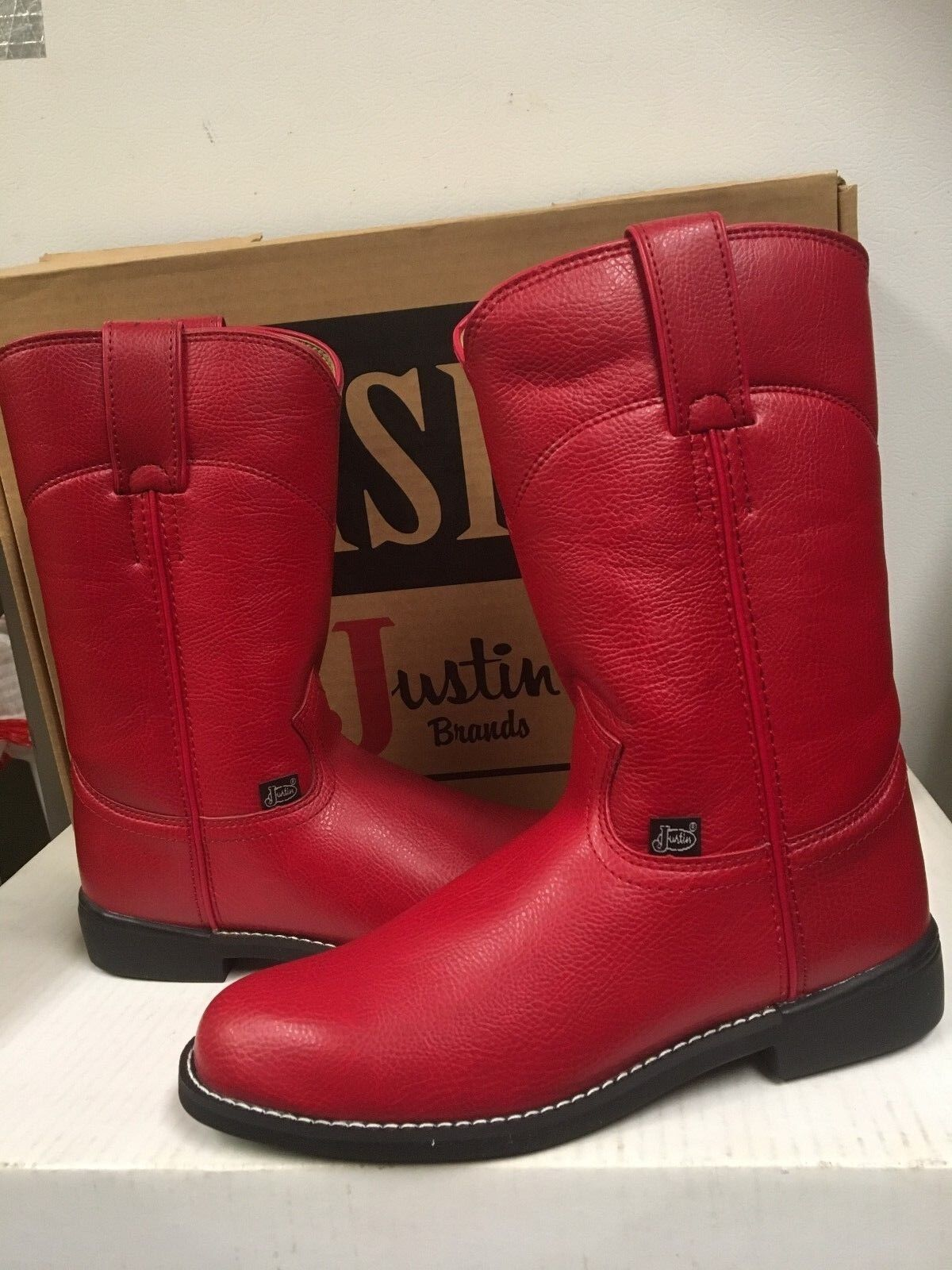 Justin Basics Women's Western Roper Leather Boots L3007 Red Size 5.5 B NEW