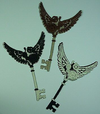 Embroidered Steampunk Winged Key Motif / Patch  / Applique - Lots of Colours