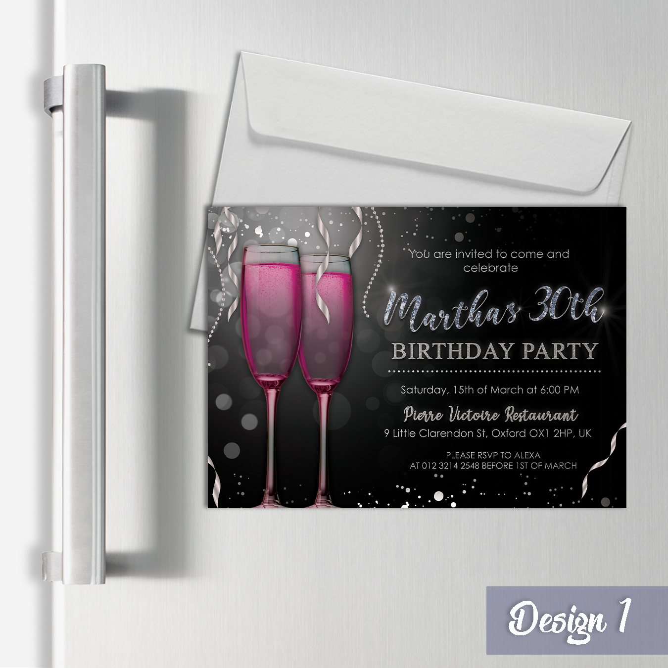 Personalised Champagne Invitation & Thank you Cards Birthday Party   A6 Magnets