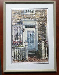 William Welch Signed Framed Lithograph Impressionism Art Nantucket Door Key West