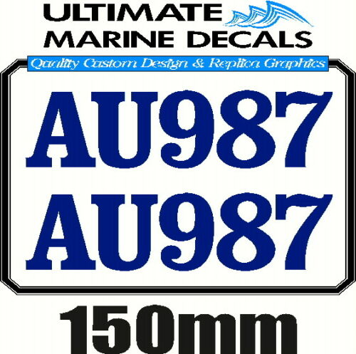 Boat Rego 150mm Registration Sticker Decal Set of 2