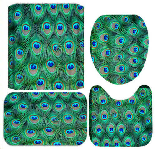 Peacock Feather Door Bath Mat Toilet Cover Rug Shower Curtain Bathroom Decor Set