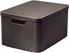 Curver Aspect Rotin Style Storage With Second-generation Lid Polypropylene Large 205861 - Dark Brown