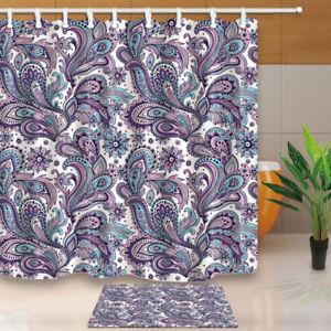 Image Is Loading Paisley Cashew Flowers Purple Fabric Shower Curtain Set