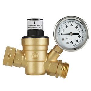 Brass-Water-Pressure-Regulator-Lead-Free-With-Gauge-For-Adjustable-3-4-034-RV