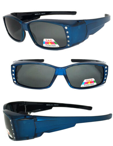 Rhinestone POLARIZED Anit Glare Rectangular Lens Cover Fit Over Sunglasses Blue