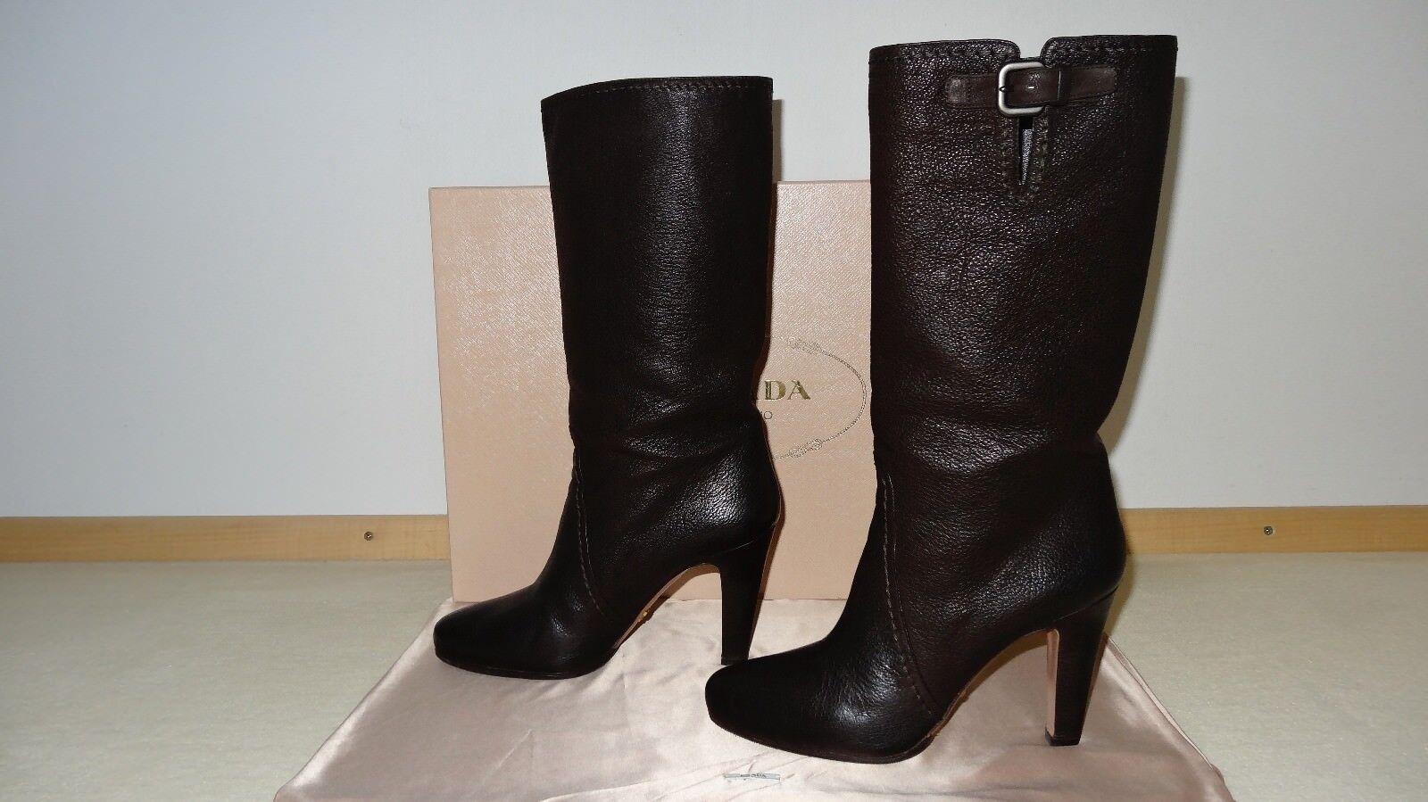 100% originale PRADA Stiefel Stiefeletten braun Ziegenleder Gr. 40 wie neu